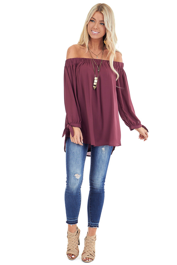 Burgundy Off the Shoulder Chiffon Blouse Top front full body
