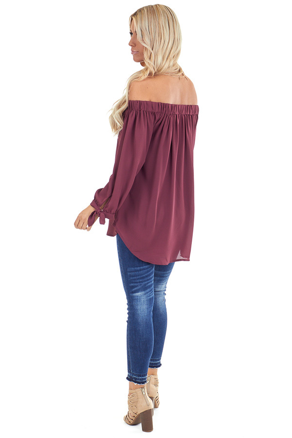 Burgundy Off the Shoulder Chiffon Blouse Top back full body