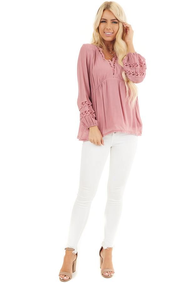 Raspberry Linen V Neck Top with Long Sleeves and Lace Trim front full body