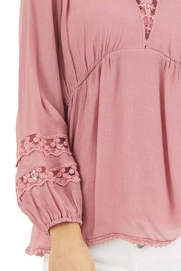 Raspberry Linen V Neck Top with Long Sleeves and Lace Trim detail