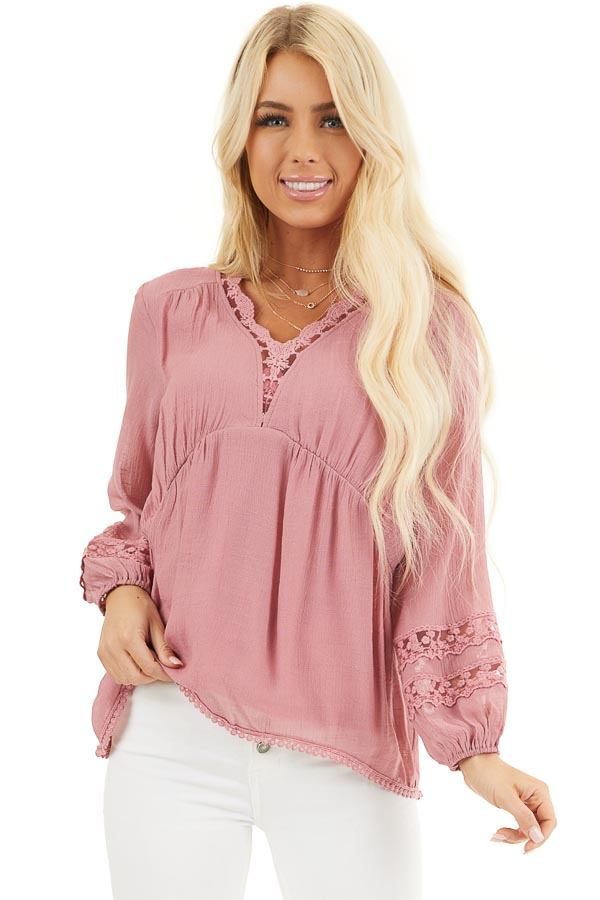 Raspberry Linen V Neck Top with Long Sleeves and Lace Trim front close up