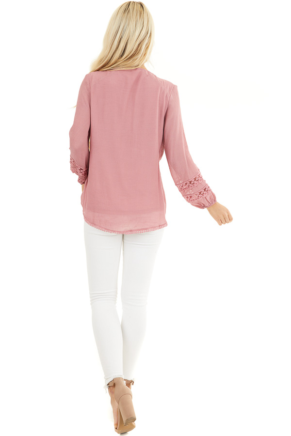Raspberry Linen V Neck Top with Long Sleeves and Lace Trim back full body