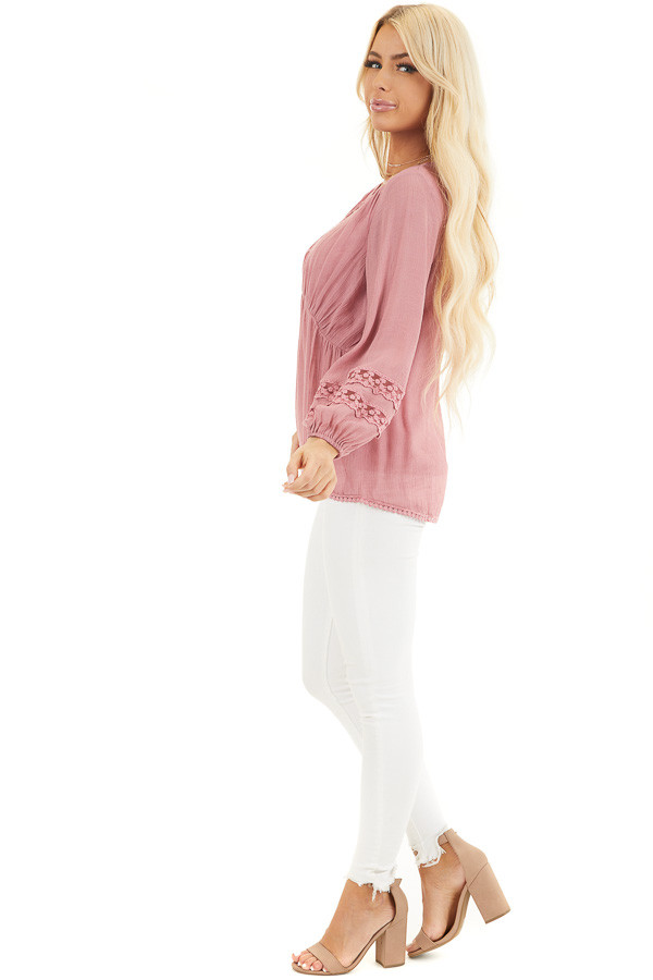 Raspberry Linen V Neck Top with Long Sleeves and Lace Trim side full body