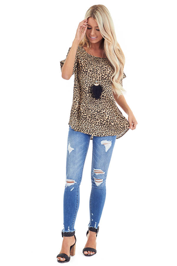 Caramel and Black Leopard Print Top with Cuffed Sleeves front full body