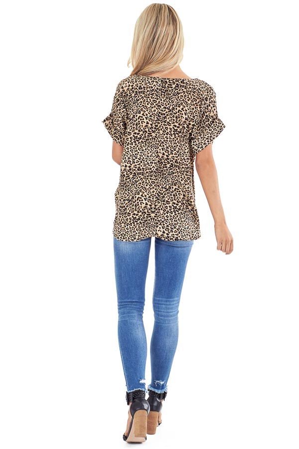Caramel and Black Leopard Print Top with Cuffed Sleeves back full body