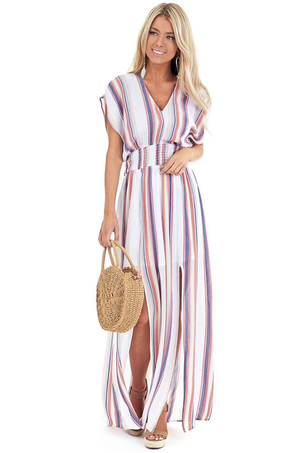Coconut White and Multi Color Striped Maxi Dress with Slits front full body