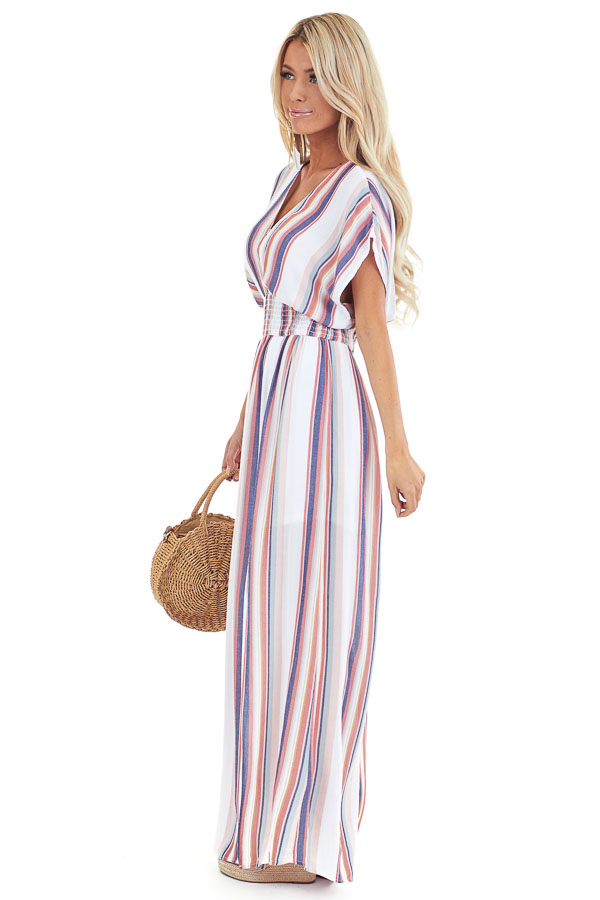 Coconut White and Multi Color Striped Maxi Dress with Slits side full body