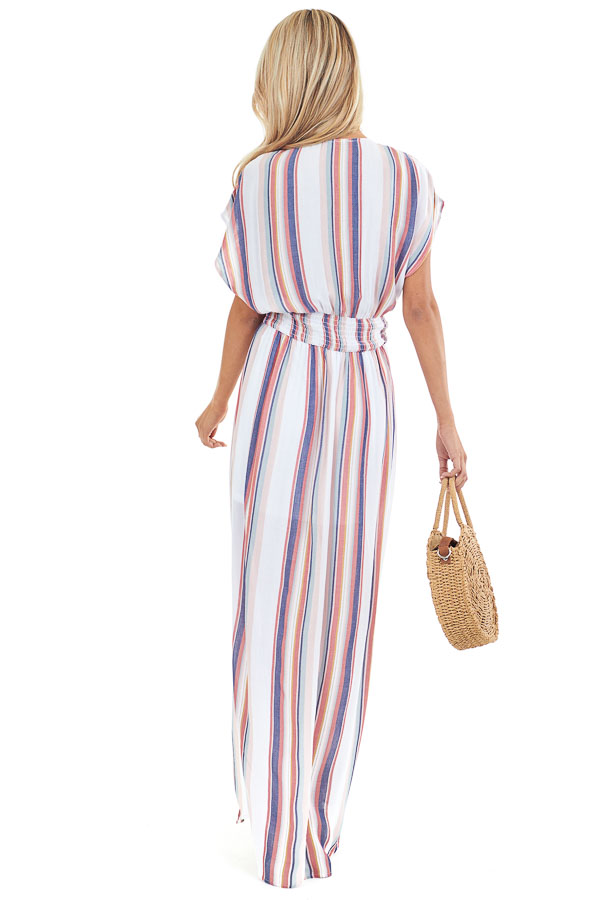 Coconut White and Multi Color Striped Maxi Dress with Slits back full body
