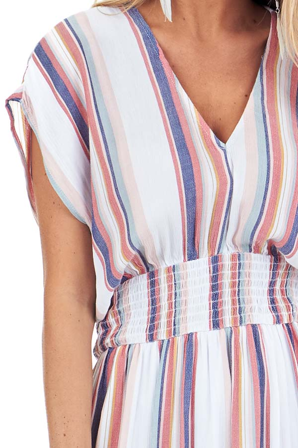 Coconut White and Multi Color Striped Maxi Dress with Slits detail