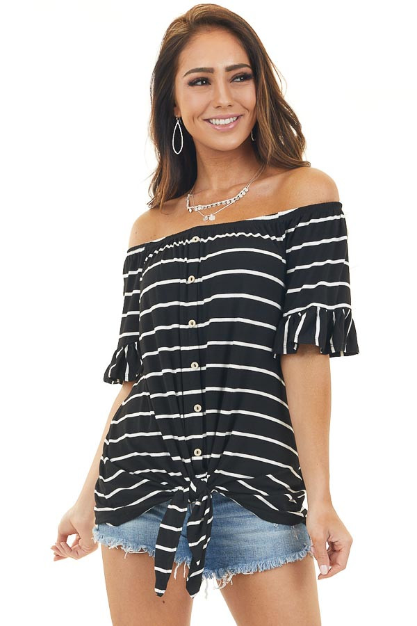 Jet Black and Ivory Striped Off Shoulder Top with Front Tie