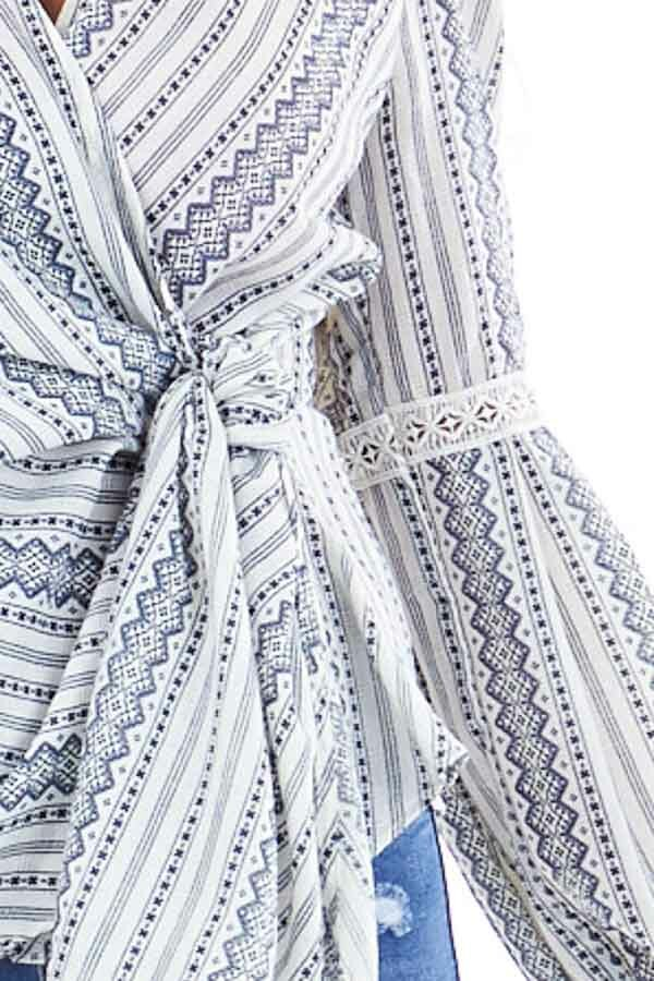 Ivory and Slate Blue Multi Print Wrap Top with Tie Closure detail