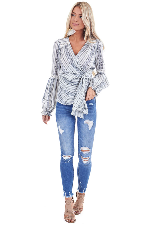 Ivory and Slate Blue Multi Print Wrap Top with Tie Closure front full body