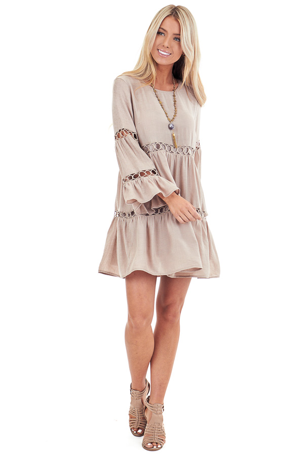 Latte Long Sleeve Dress with Crochet Lace Details front full body