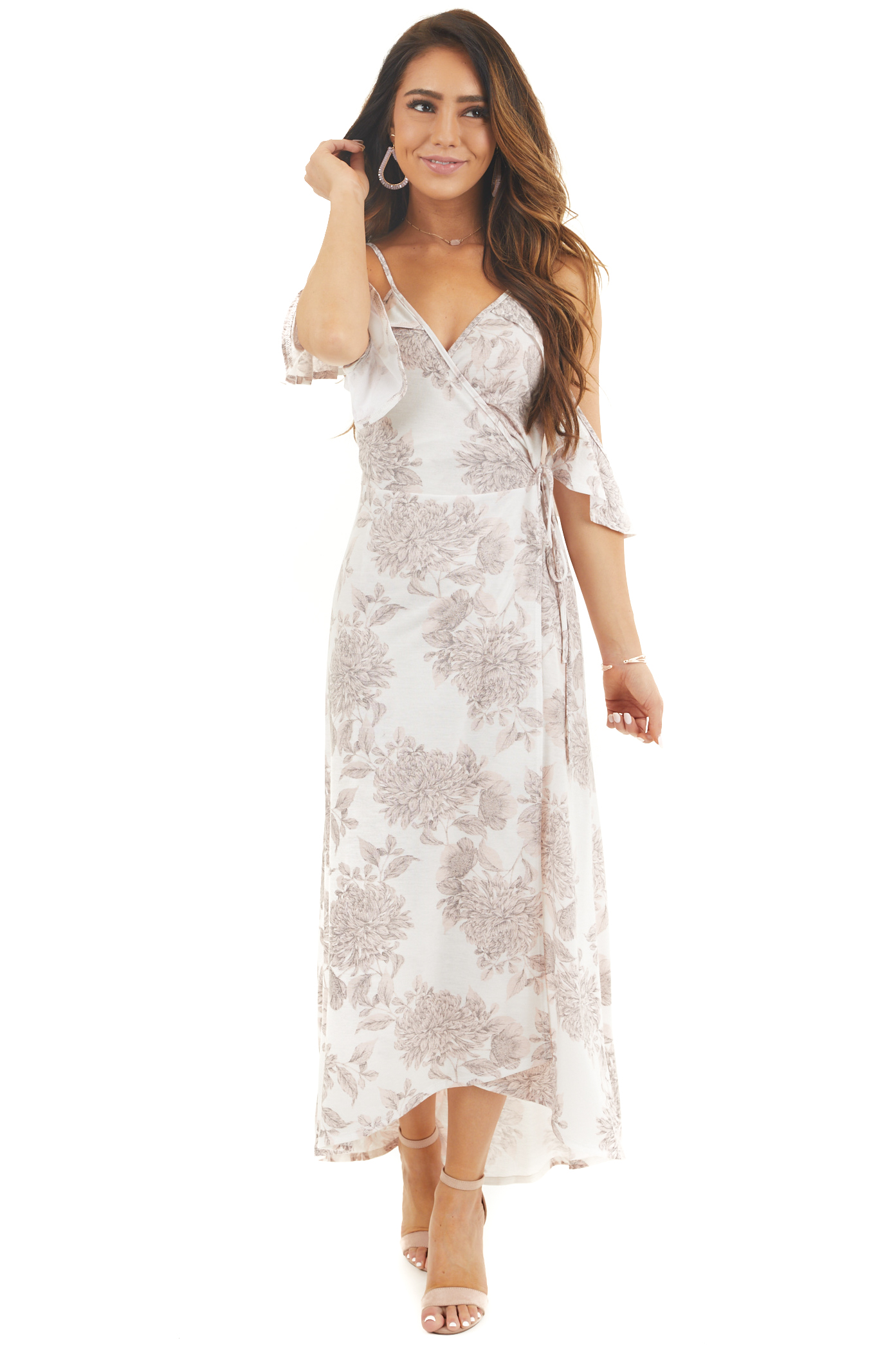 Ivory Floral Print High Low Cold Shoulder Midi Wrap Dress