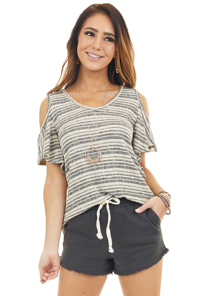 Sand and Charcoal Striped Cold Shoulder Short Sleeve Top