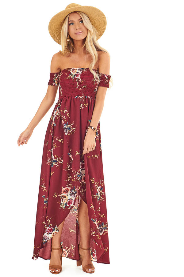 Wine and Floral Print Off Shoulder Smocked Maxi Dress front full body