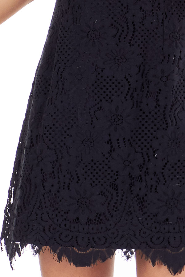 Black Floral Lace Dress with High Neck and Scalloped Hem detail