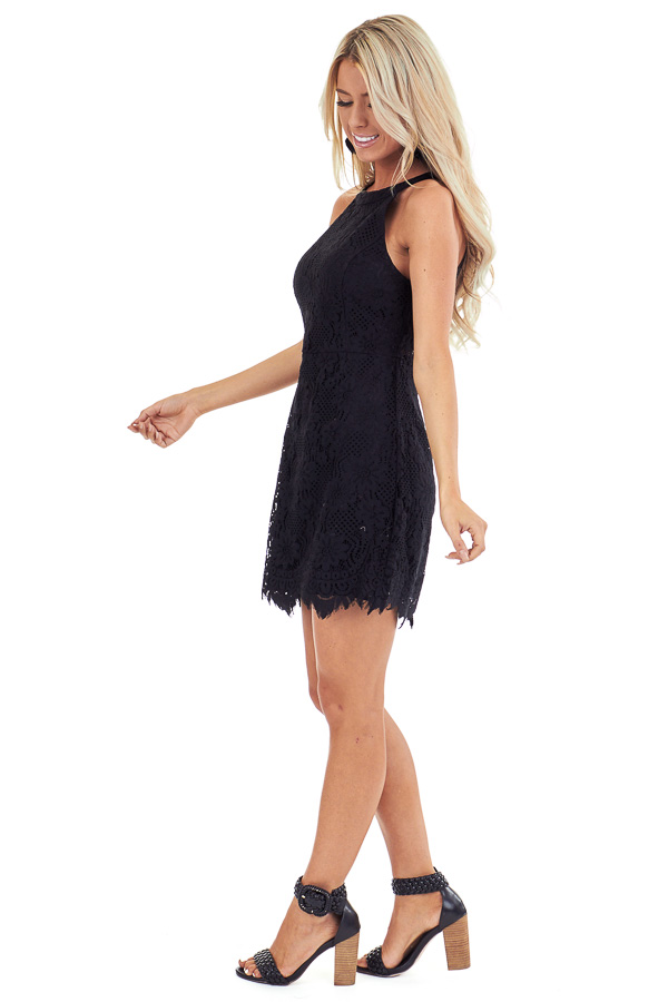 Black Floral Lace Dress with High Neck and Scalloped Hem side full body