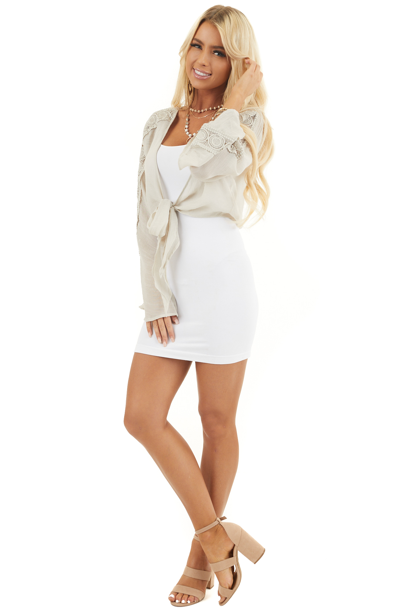 Oatmeal Long Sleeve Cropped Cardigan with V Neckline and Tie
