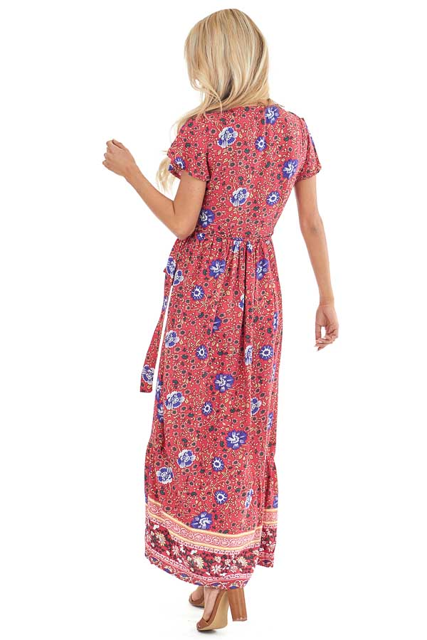 Tomato Red Floral Print V Neck Maxi Wrap Dress with Tie back full body