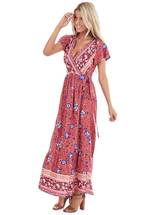 Tomato Red Floral Print V Neck Maxi Wrap Dress with Tie side full body