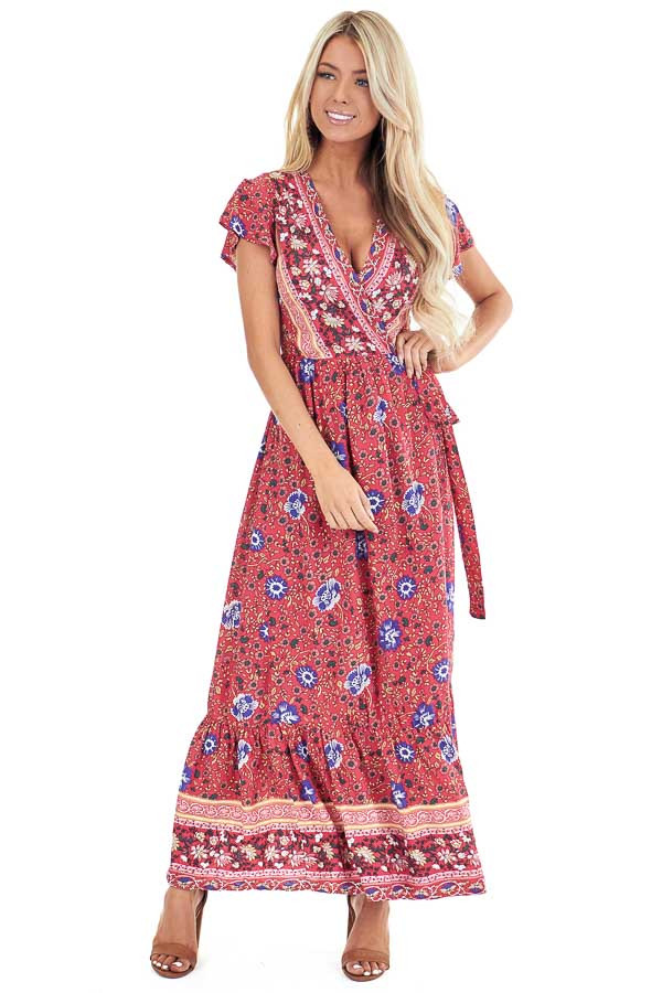 Tomato Red Floral Print V Neck Maxi Wrap Dress with Tie front full body