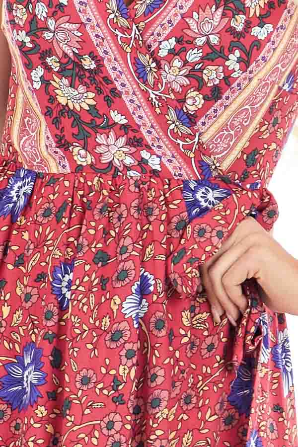 Tomato Red Floral Print V Neck Maxi Wrap Dress with Tie detail