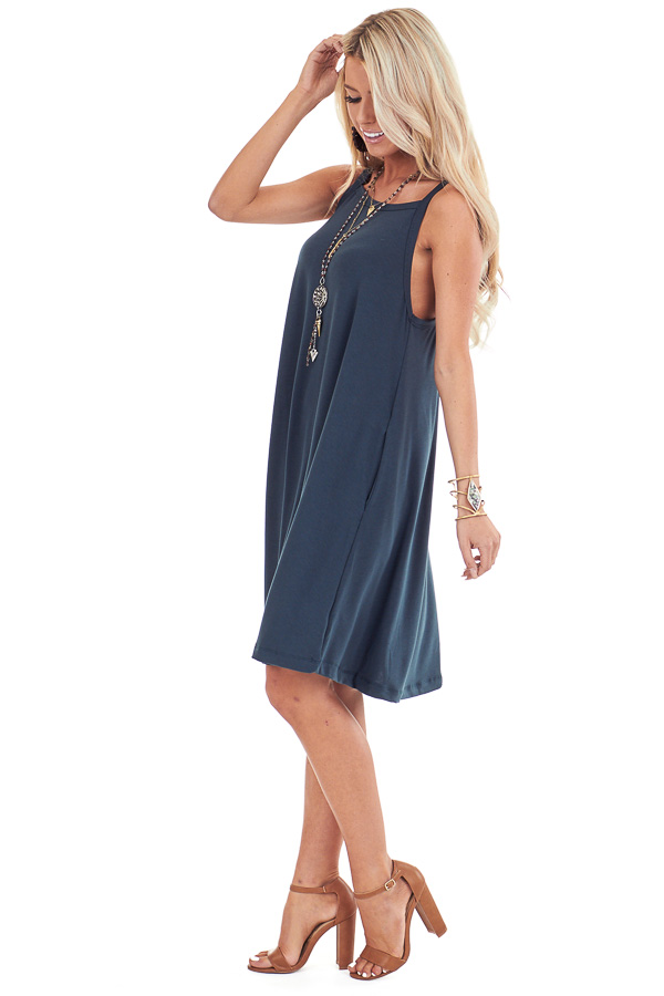 Hunter Green Square Neck Mini Tank Dress with Side Pockets side full body