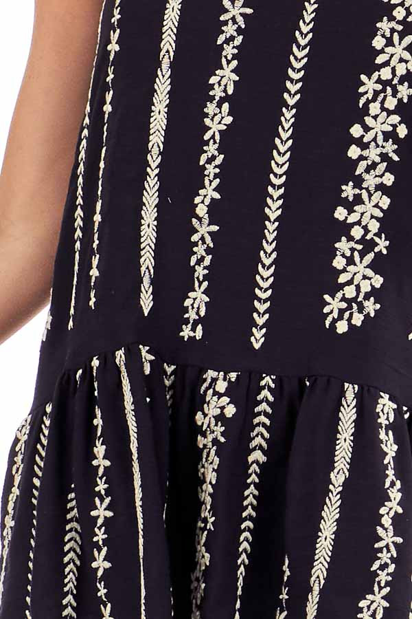 Jet Black Embroidered Peplum Tank Top with Back Tie detail