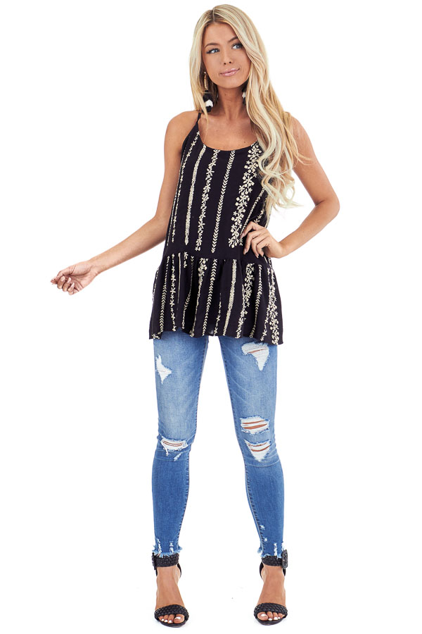 Jet Black Embroidered Peplum Tank Top with Back Tie front full body