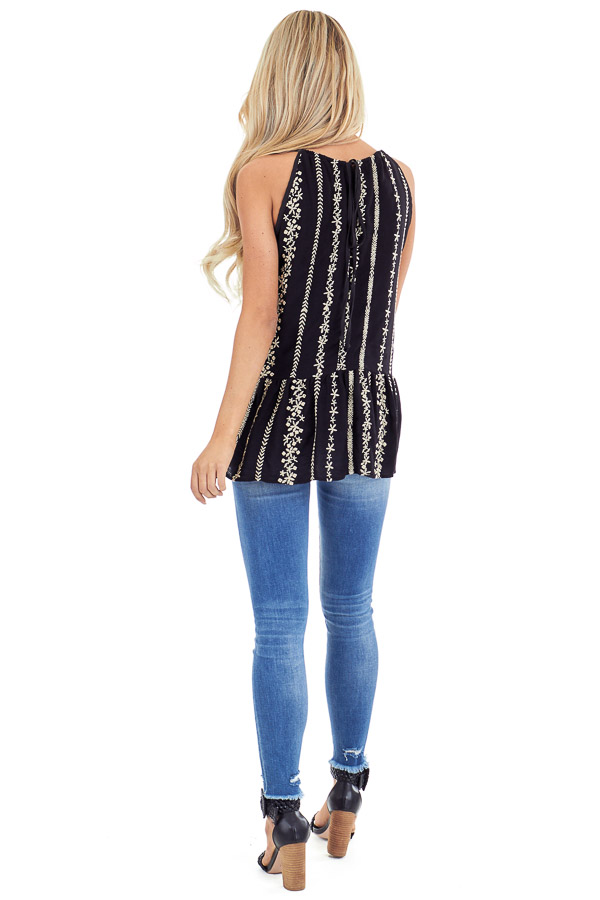 Jet Black Embroidered Peplum Tank Top with Back Tie back full body