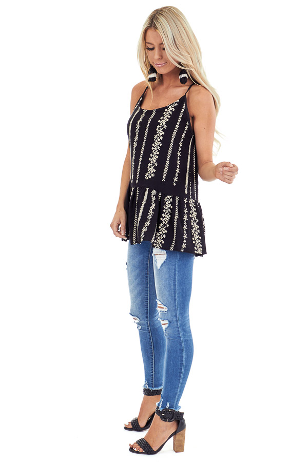 Jet Black Embroidered Peplum Tank Top with Back Tie side full body