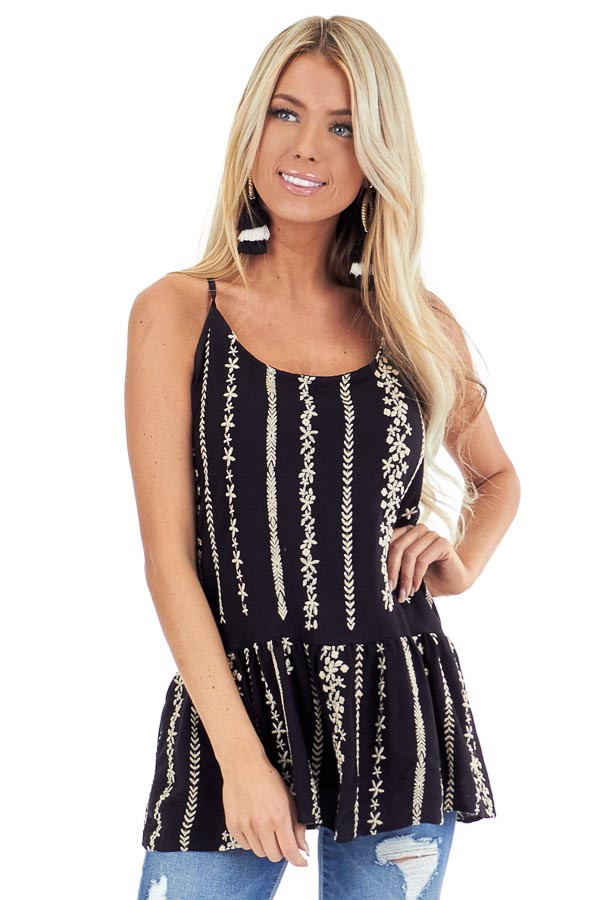 Jet Black Embroidered Peplum Tank Top with Back Tie front close up