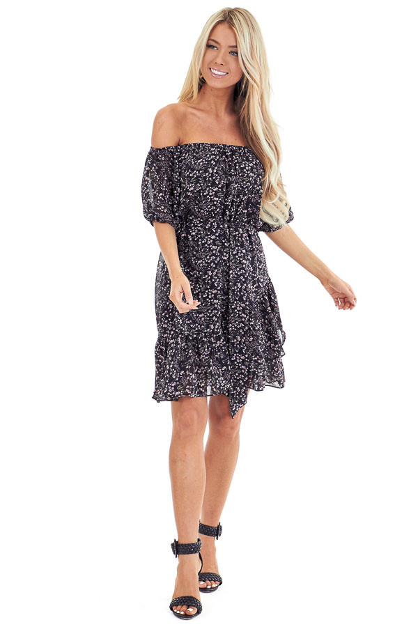 Black Floral Print Off Shoulder Mini Dress with Waist Tie front full body