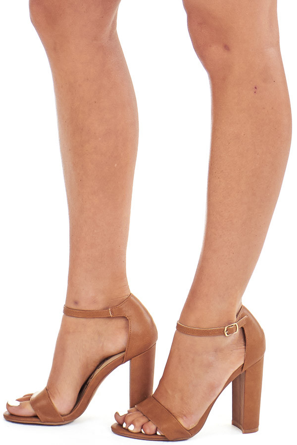 Cognac Faux Leather Heels with Ankle Strap and Buckle side view