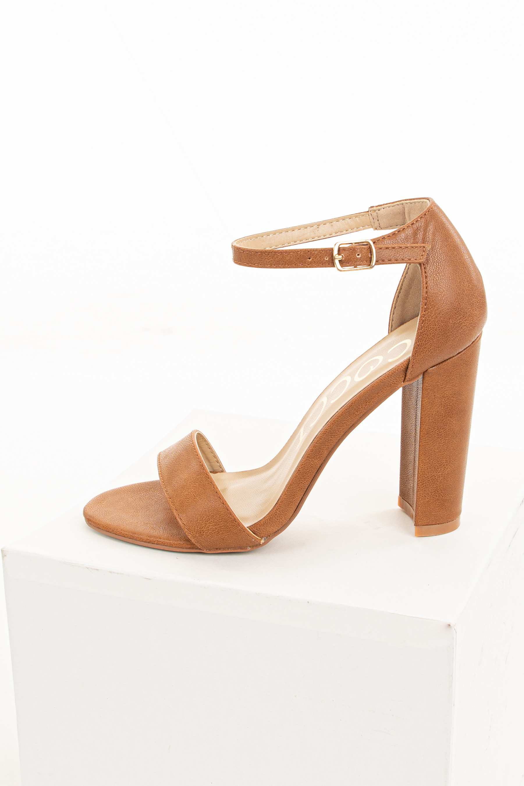 Cognac Faux Leather Heels with Ankle Strap and Buckle
