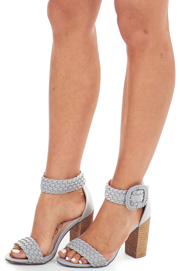 Slate Grey Faux Leather Heels with Buckle Detail front side view