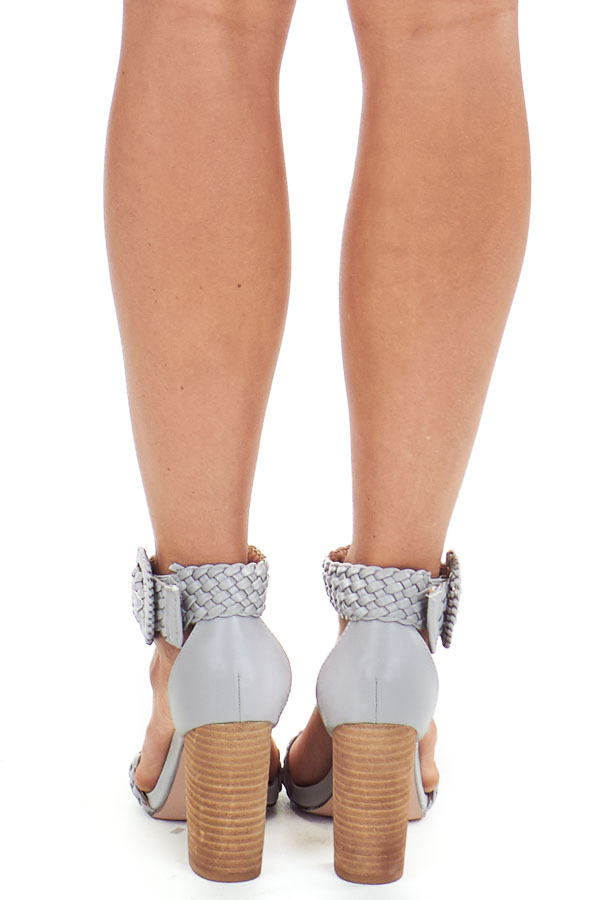 Slate Grey Faux Leather Heels with Buckle Detail back view