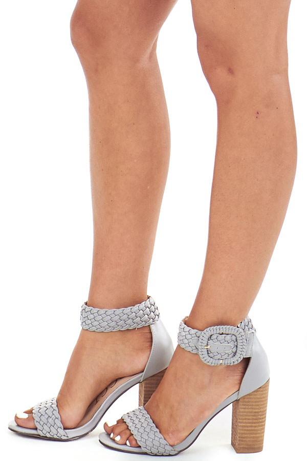 Slate Grey Faux Leather Heels with Buckle Detail side view