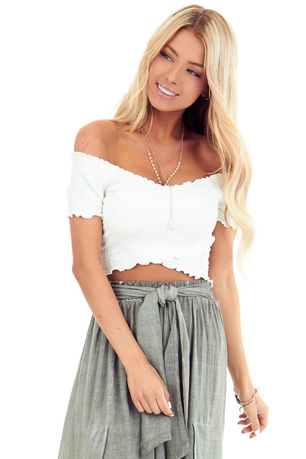 Pure White Criss Cross Off the Shoulder Smocked Crop Top front close up