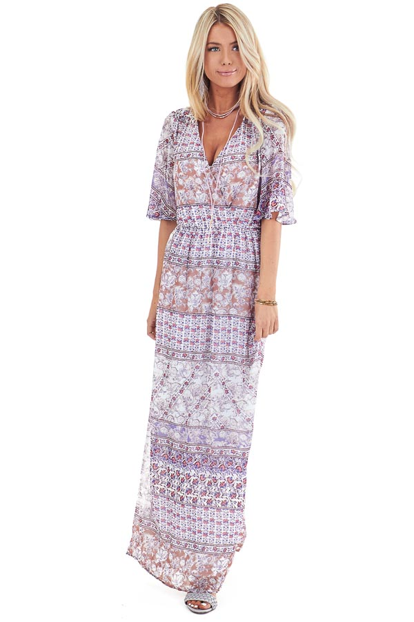 Multi Color Floral Print Chiffon Maxi Dress with Back Slit front full body