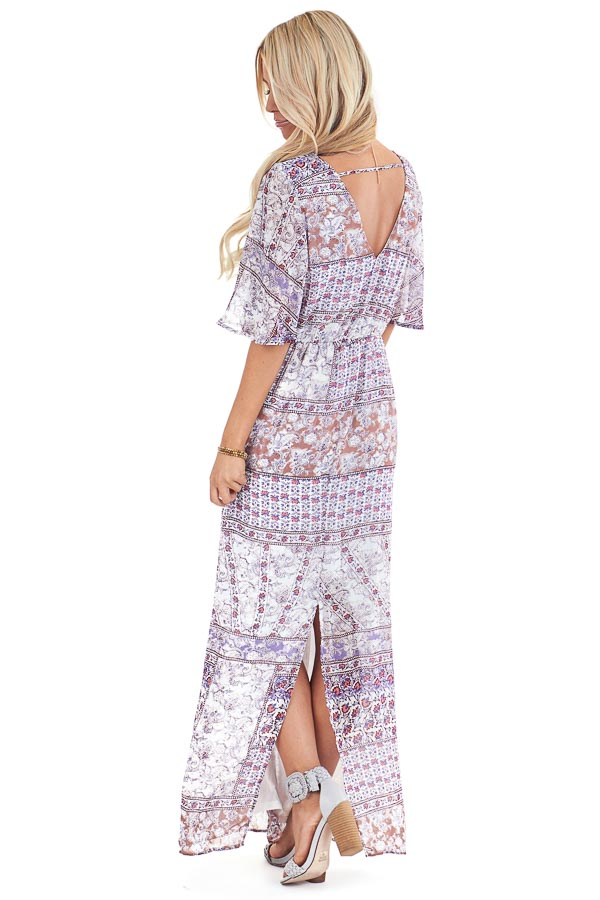 Multi Color Floral Print Chiffon Maxi Dress with Back Slit back full body