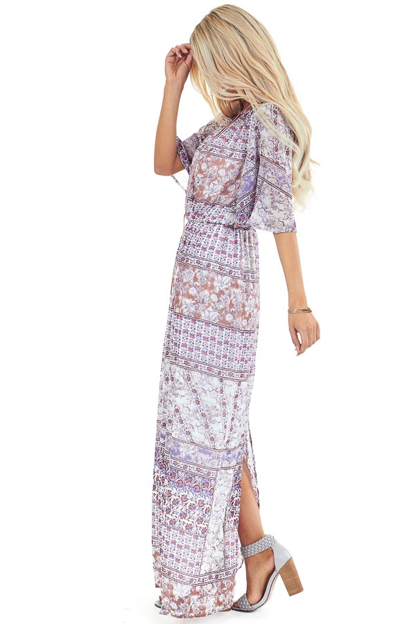 Multi Color Floral Print Chiffon Maxi Dress with Back Slit side full body