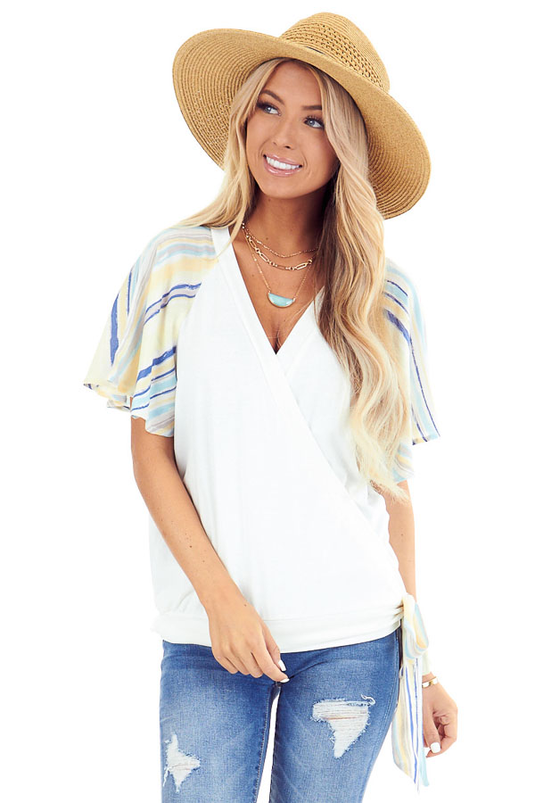 Ivory V Neck Wrap Top with Pastel Striped Ruffle Sleeves front close up