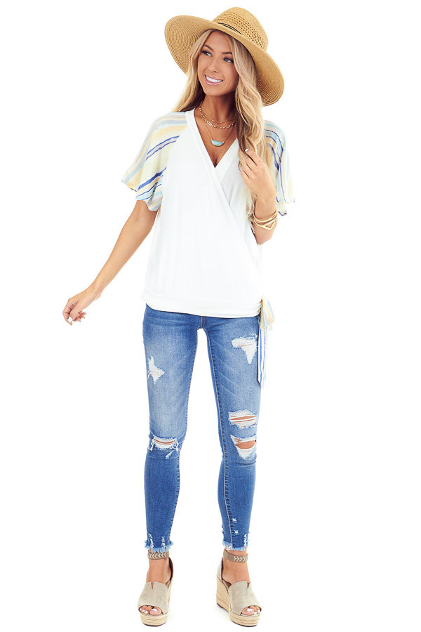 Ivory V Neck Wrap Top with Pastel Striped Ruffle Sleeves front full body