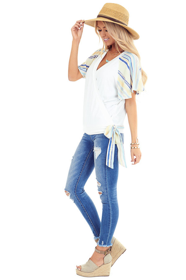 Ivory V Neck Wrap Top with Pastel Striped Ruffle Sleeves side full body