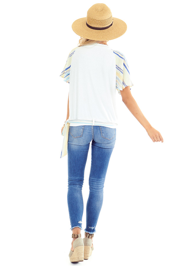 Ivory V Neck Wrap Top with Pastel Striped Ruffle Sleeves back full body