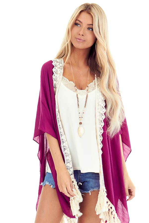 Magenta Open Front Kimono with Cream Lace Details front close up