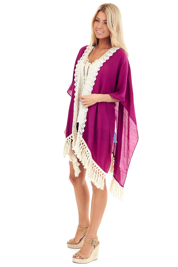 Magenta Open Front Kimono with Cream Lace Details side full body