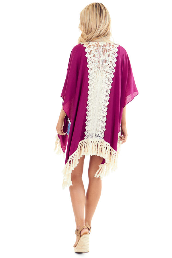 Magenta Open Front Kimono with Cream Lace Details back full body